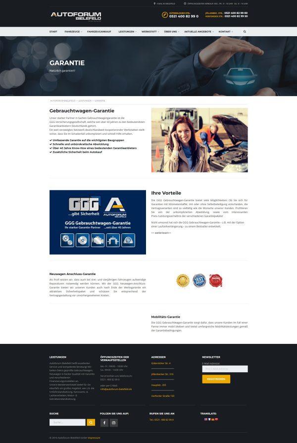 Autoforum Bielefeld Webseite Garantie