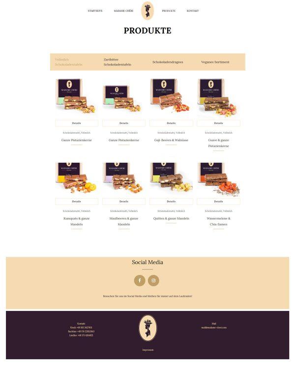Madame Cheri Webseite Produkte