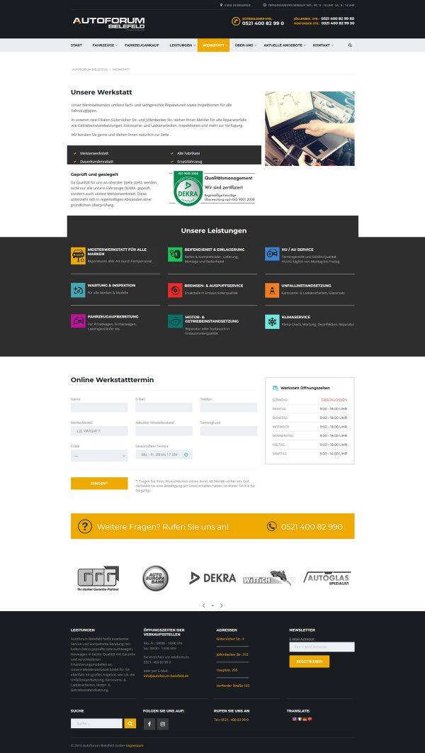 Autoforum Bielefeld Webseite Werkstatt