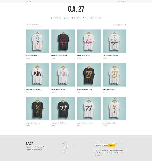 G.A. 27 Webseite Shop