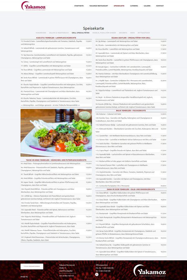 Yakamoz Webseite Speisekarte