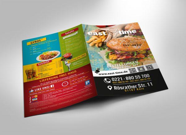 East Time Burger Flyer Menükarte
