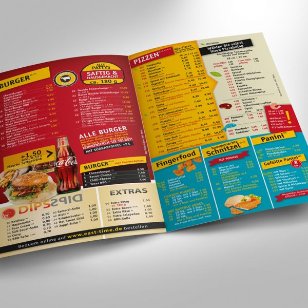 East Time Burger Flyer Menükarte
