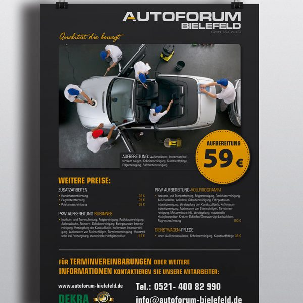 Autoforum Bielefeld Plakat PKW Aufbereitung